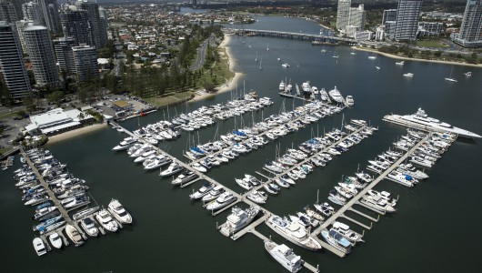 Shot from helicopter, the Southport Yacht Club is situated on the beautiful Gold Coast inland river